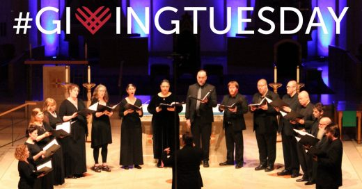 Cappella Romana in performance with Giving Tuesday logo at the top