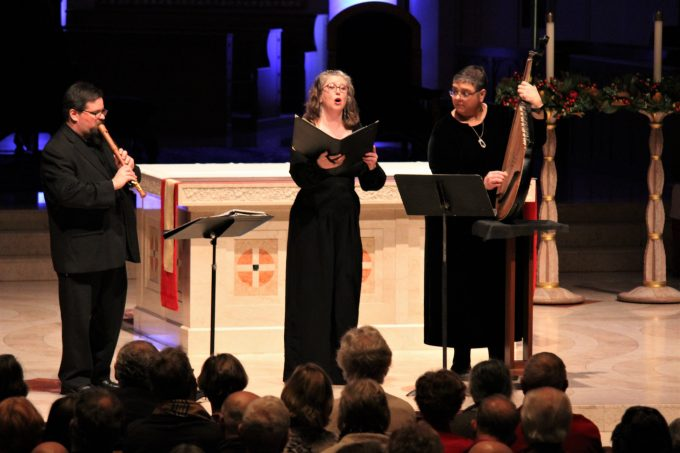 "Tim Galloway (recorder), Jessica Israels (alto) and Nadia Tarnawsky (bandura) perform at ""Christmas in Ukraine"", Dec. 22 at St. Mary's Cathedral in Portland"